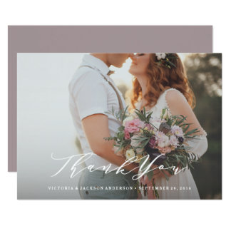 Weiche Kalligraphie-Hochzeit danken Ihnen Karte