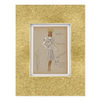 Weicher Dressy Mantel. Vierzigerjahre Mode Postkarte