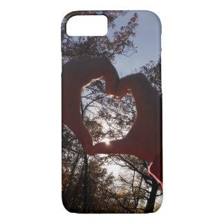 Weicher Herbst-Sonnenuntergang-Herz-Fall iPhone 8/7 Hülle