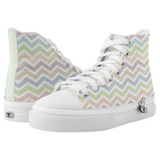 Weiches PastellfarbZickzack Muster Hoch-geschnittene Sneaker