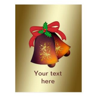 Weihnachten Bell auf dem Gold kundengerecht Postkarte