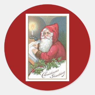 Weihnachten, das Vintagen Weihnachtsmann grüßt Runder Aufkleber