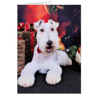 Weihnachten - Draht-Foxterrier - Dexter Grußkarte