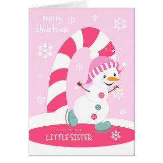 Weihnachten für kleine Schwester-Eis-SkatenSnowman Karte