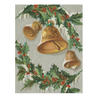 Weihnachten gefrorene Bell und Stechpalme Postkarte