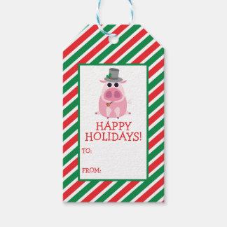 Weihnachten misstrauisch das Schwein Geschenkanhänger