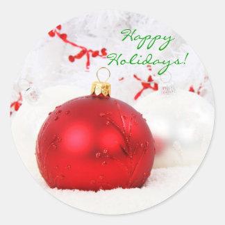 Weihnachten rot und Weiß frohe Feiertage ich Aufkleber