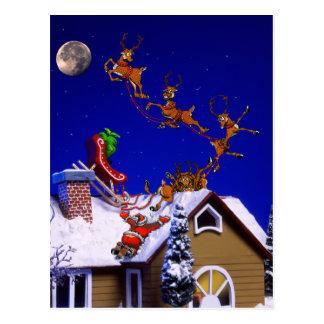 Weihnachten - Sankt zerschmettert auf der Postkarte