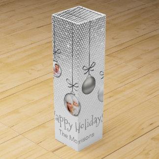 Weihnachten verziert Foto-Schablonen-Silber ID251 Wein-Geschenkverpackung
