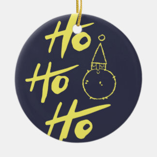 "Weihnachten Weihnachtsmann ""ho ho ho"" (Schwarzes) Keramik Ornament"