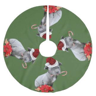 Weihnachtenpitbull Welpen-Baumrock Polyester Weihnachtsbaumdecke