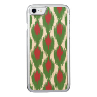 Weihnachtenrotes grünes Stammes- Ikat Carved iPhone 8/7 Hülle