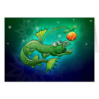 Weihnachtsabgrundtiefe Angler-Fische Grußkarte
