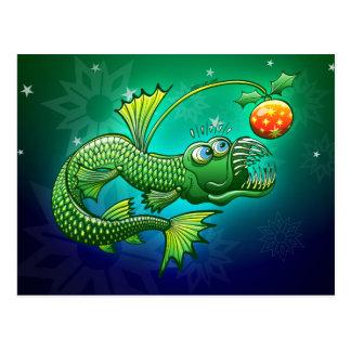 Weihnachtsabgrundtiefe Angler-Fische Postkarte