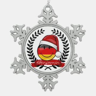 Weihnachtsart-Deutsch-Flagge Schneeflocken Zinn-Ornament