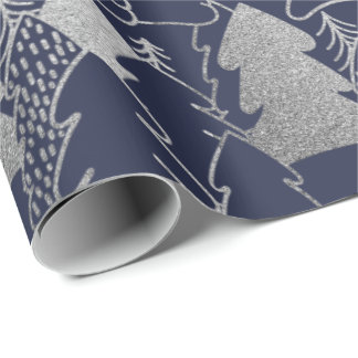 Weihnachtsbaum-blaues Marine-silbernes Geschenkpapier