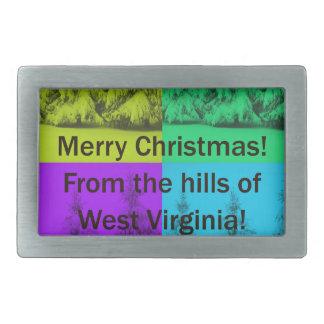 Weihnachtsbaum-Collage West Virginia fröhliche Rechteckige Gürtelschnallen