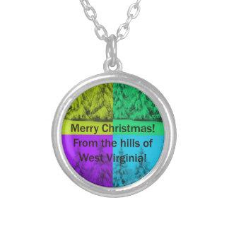 Weihnachtsbaum-Collage West Virginia fröhliche Versilberte Kette