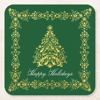 Weihnachtsbaum Ihr Gruß und Farbe Rechteckiger Pappuntersetzer