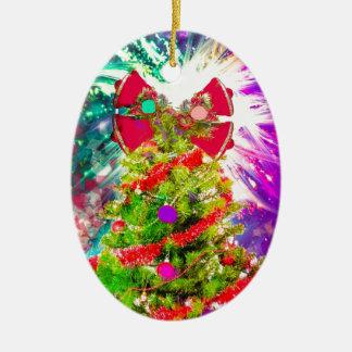 Weihnachtsbaum in den vollen Farben Keramik Ornament