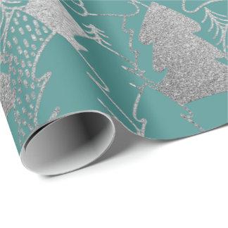 Weihnachtsbaum-Minzen-aquamarines silbernes Geschenkpapier