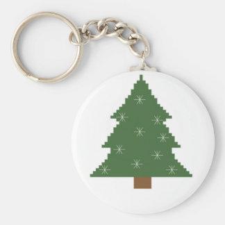 Weihnachtsbaum mit Sternen Standard Runder Schlüsselanhänger