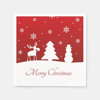 Weihnachtsbaum-Ren-Schneemann - Papierserviette