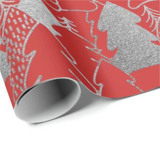 Weihnachtsbaum-Rotwein-silbernes Grau-Glitzer-Holz Geschenkpapier