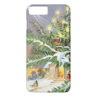 Weihnachtsbaum-Singvogel-Immergrün-Kirche iPhone 8 Plus/7 Plus Hülle