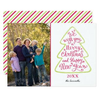 Weihnachtsbaum-Typografie-WeihnachtsFotokarte Karte
