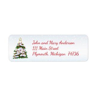 Weihnachtsbaum-Winter-Adressen-Etikett