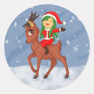 Weihnachtsbeifall Runder Aufkleber