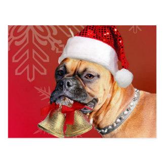 Weihnachtsboxerhund Postkarte