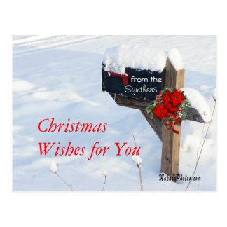 Weihnachtsbriefkasten mit Poinsettias fertigen es Postkarte