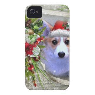 Weihnachtscorgi-Welpe im weißen Rahmen Case-Mate iPhone 4 Hüllen
