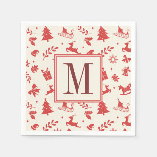 Weihnachtsdekorative Element-mit Monogramm Papierserviette