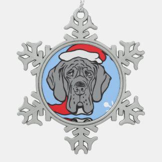 WeihnachtsDogge-Gesicht Schneeflocken Zinn-Ornament