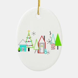 Weihnachtsdorfmitte des jahrhunderts modern ovales keramik ornament