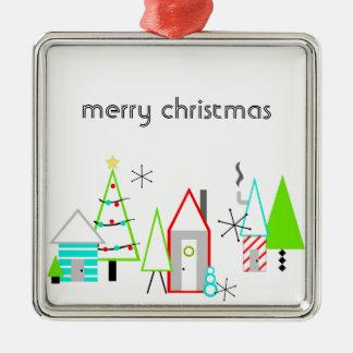 Weihnachtsdorfmitte des jahrhunderts modern silbernes ornament