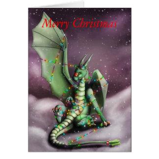Weihnachtsdrache-feenhafte Lichter Grußkarte