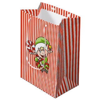 Weihnachtself mit Zuckerstange-Kindern Mittlere Geschenktüte