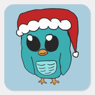 Weihnachtseule Quadrat-Aufkleber