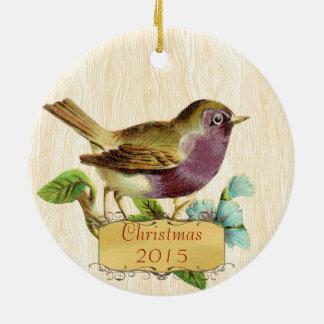Weihnachtsfamilien-Foto-Vintager lila Vogel Rundes Keramik Ornament