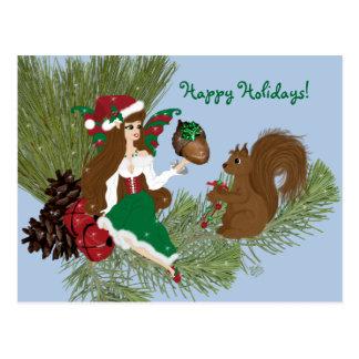 WeihnachtsFee und Eichhörnchen-Geschenk, das Postkarte