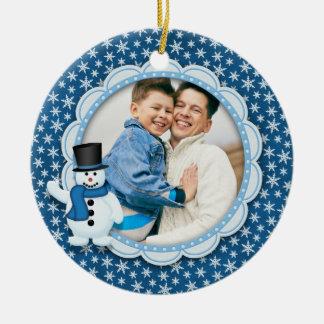 Weihnachtsfeiertag - eisiges Schneeflocke-Foto Keramik Ornament