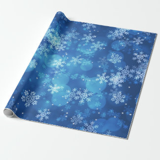 Weihnachtsfeiertags-Glitzern u. Schneeflocken blau Geschenkpapier