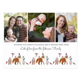Weihnachtsfeiertags-Tiere   3 Foto-Postkarte Postkarte