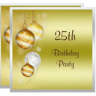 Weihnachtsflitter-u. -stern-25. Geburtstag Quadratische 13,3 Cm Einladungskarte