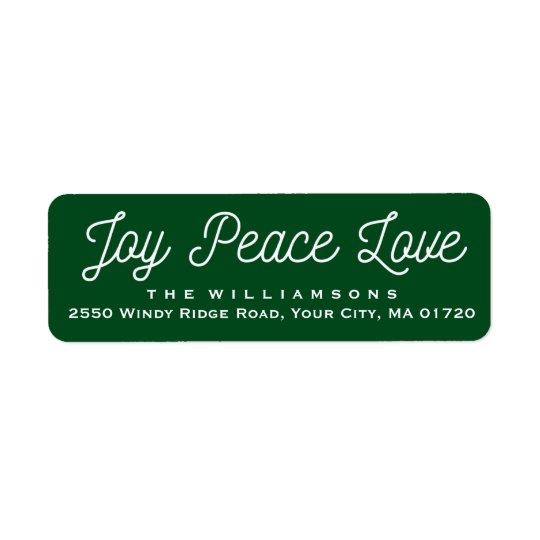 Weihnachtsfreude-FriedensLiebe-Gewohnheits-Grün Rücksende Aufkleber