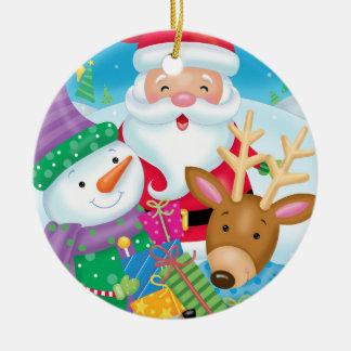 Weihnachtsfreund-Trio-Verzierung Rundes Keramik Ornament